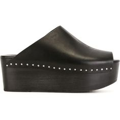 Rick Owens platform clogs (1.895 BRL) ❤ liked on Polyvore featuring shoes, clogs, black, clogs footwear, kohl shoes, peep-toe shoes, black peep toe shoes and clog shoes