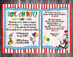 DR SEUSS Custom Baby Shower Party Invitation by ChoosaRoo on Etsy