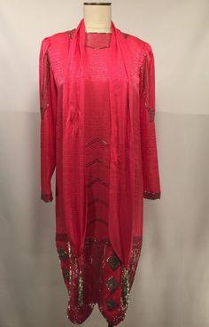 Hot Pink Silk Francesca of Damon Beaded Dress Size 8 Halloween Costume  #FrancescaofDamon #EveningOccasion