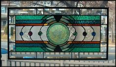 Under The Radar Stained Glass Window Panel Signed and Dated