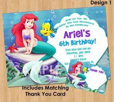 Disney princess ariel little mermaid birthday party invitation little mermaid invitation thank you note printable princess ariel birthday party invite custom personalized digital card 4x6 or 5x7 filmwisefo