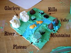 edible landforms-also use peanut butter clay to make landforms