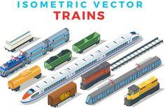Vector Trains Isometric Flat style by Sentavio on @creativemarket