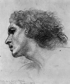 Study of the Head for Perseus in 'Perseus and Andromeda' Charcoal on white paper