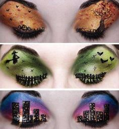 Amazing Halloween eye make up Pinned on behalf of Pink Pad, the women's health mobile app with the built-in community Crazy Eye Makeup, Eye Makeup Art, Eye Art, Beauty Makeup, Eyeshadow Makeup, Hair Beauty, Eyeshadow Ideas, Halloween Eye Makeup, Maquillage Halloween