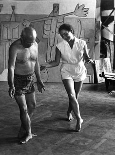 Picasso dancing with Jacqueline at La Californie - Cannes (French Riviera) 1957 by David Douglas Duncan
