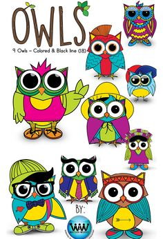 These fun owl graphics are perfect to use in your classroom or your own product creation. This set comes with 9 owl graphics in color and in black and white (total of 18).   Images are png files all 300 dpi for high quality, clear, crisp printing.