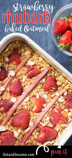 Strawberry Rhubarb Baked Oatmeal is a must make for rhubarb season! Best Breakfast Recipes, Vegetarian Breakfast, Brunch Recipes, Dessert Recipes, Breakfast Ideas, Clean Breakfast, Brunch Dishes, Morning Breakfast, Breakfast Club