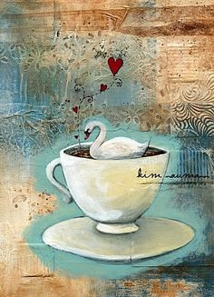 Painting Collage Swan Tea Cup Roses Buttons by Kim Naumann (Hope you can see the detail.it's beautiful! Painting Collage, Mixed Media Painting, Mixed Media Collage, Collage Art, Paintings, Art Journal Pages, Art Journals, Yoga Journal, Journal Covers