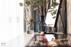 Modern and colorful interior design. The make up table area: Ikea desk and mirror, H&M Home details.