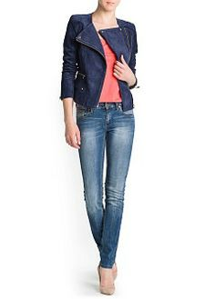 Peccary leather biker jacket with asymmetric zip fastening through front. Padded shoulders, long sleeves with zip fastening at cuffs and twin pockets on the sides. Mango Clothing, Jean Outfits, Biker, Skinny Jeans, Spy, Long Sleeve, Online Shopping, Portugal, Pants