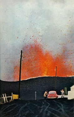 Eldfell erupting, Heimaey, Iceland, 1973    photo by Emory Kristof for National Geographic. #iceland #volcano