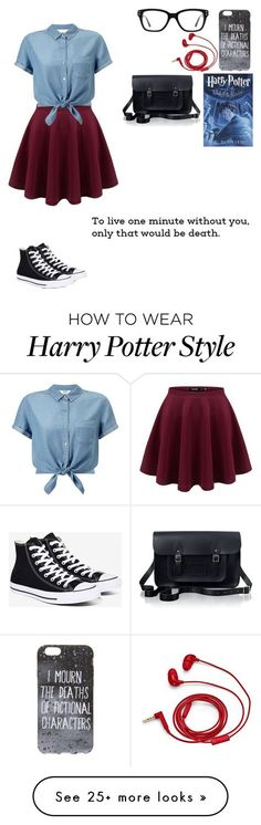 """Book lover"" by lovley101 on Polyvore featuring Miss Selfridge, Converse, FOSSIL and The Cambridge Satchel Company"