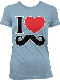 I Love Mustaches Ladies Junior Fit T-shirt Funny Hot Hip Moustache Design Juniors Tee