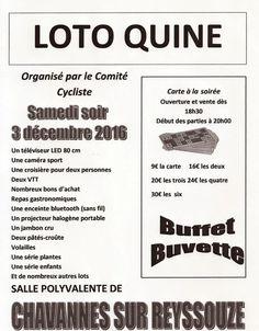 Le comité cycliste de Chavannes organise un loto.