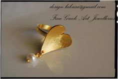 Silver Rings – Heart Ring with Pearl Silver 925 Gold-plated – a unique product by Eleytheria on DaWanda