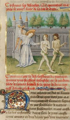 """The Expulsion from Paradise,"" about 1440–50, Master of the Oxford Hours. In Saint Augustine, ""City of God."" The J. Paul Getty Museum"