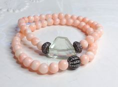 Beautiful on sun kissed skin:))  Angel Skin Coral Natural Green Amethyst Stretch by LoveandLulu, $68.00