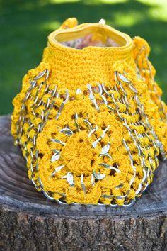 Bolso de mano de oro reciclado Crochet amarillo Pop Tab por Flor7