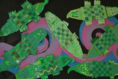 Green Gators from Painted Paper