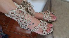 Sandália Gladiadora em croche