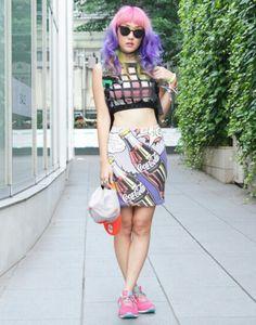 Japanese Street Fashion, Tokyo Fashion, Harajuku Fashion, Bold Fashion, Fashion Outfits, Japan Street, Tokyo Street Style, Neko, Pastel Punk