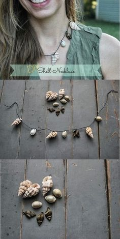 Jewelry Making Shells DIY SHELL NECKLACE would love to do something like this with multiple layers! Easy Diy Crafts, Crafts To Make, I Love Jewelry, Jewelry Making, Diy Fashion, Fashion Jewelry, Seashell Jewelry, How To Make Necklaces, Bijoux Diy