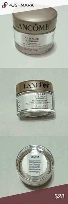 New Lancome Beauty New Lancome Obsolue Premium Bx Replenishing and Rejuvenating Day Cream with SPF 15.  -Intensively nourishing, Absolue Bx quenches even the driest of skin without being greasy. The velvety texture is light, smooth, and fast-absorbing so it is ideal to wear under makeup.  -Absolue Premium Bx is infused with Pro-Xylane and the replenishing Bio-Network? to replenish and rejuvenate skin?s appearance while recapturing the qualities younger looking skin:  Firmness, elasticity…