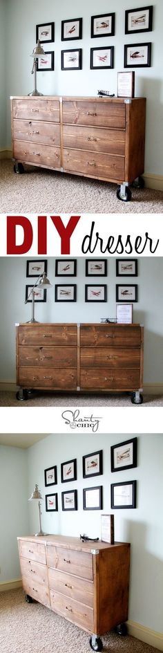 DIY Furniture~ Wood Dresser with Wheels ♡ My Fort Bragg Home Diy Furniture Projects, Diy Wood Projects, Furniture Plans, Furniture Makeover, Wood Furniture, Home Projects, Dresser Furniture, Dressers, Vintage Furniture