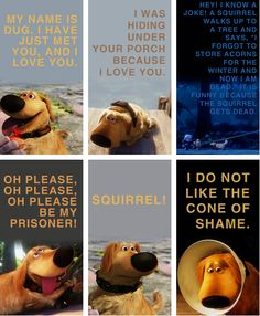 """dogs explained by the movie up:  - my name is dug. i have just met you and i love you.  - i was hiding under your porch because i love you.  - hey! i know a joke! a squirrel walks up to a tree and says """"i forgot to store acorns for the winter  and now I'm dead."""" its funny because the squirrel gets dead.  - oh please, oh please, oh please be my prisoner!  - squirrel!  - i do not like the cone of shame."""