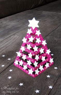 Glow In The Dark 3D Paper Christmas Tree -awesome idea to use glow in the dark paint!