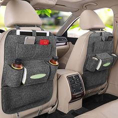 Declutter your car in seconds with our amazing carorganization system. Highlights The Price is2 Pcs ( If you only need 1 pcs,please choose the option $12.99) Convenient cup holders and numerous storage pockets Holds iPhones, iPads, tissue boxes, and so much more Install in 30 seconds or less Made ofpolyester Include