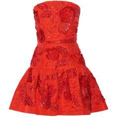 Oscar de la Renta Embellished silk mini dress ($9,490) ❤ liked on Polyvore featuring dresses, red, party dresses, short dresses, short sequin dress, red party dresses and sequin mini dress