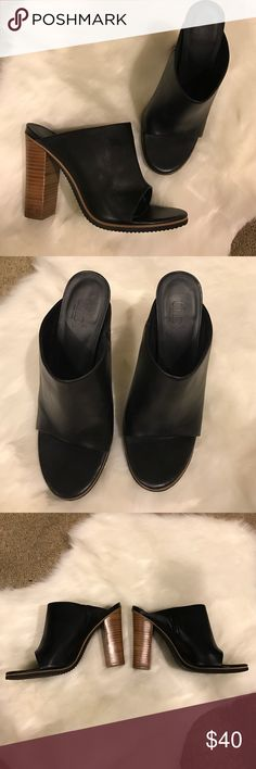 Black open toe mules clogs heels slide Look almost new! Worn no more than a couple times. Tibi Shoes Mules & Clogs