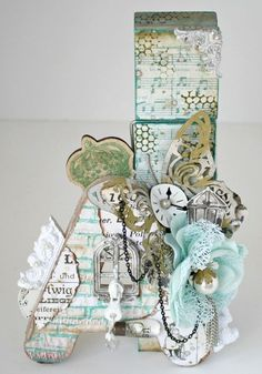 Altered clothespin by Miranda Edney for Ingvild Bolme using Junkyard Findings, Chalk Edgers and Shabby Chic Treasures Vintage Vanity, Shabby Vintage, Shabby Chic, Jean Crafts, Paper Crafts, Scrapbook Paper Flowers, Collages, Crafts For Kids, Arts And Crafts