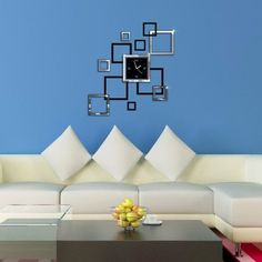 Modern Design 3D Home Decoration Mirror Wall Clock - Decor Home Ideas