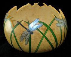 Dragonfly Dance Gourd Art Bowl by GourdsInCostume on Etsy