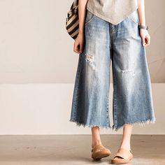 Vintages Cowboys blue Wide-legged pants women's trousers