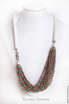 Beaded necklace / Украшения ручной работы. Бусы `Радуга после дождя`. Ярмарка мастеров. Ксения Патина. Cute Necklace, Seed Bead Necklace, Collar Necklace, Beaded Necklace, Handmade Beaded Jewelry, Handcrafted Jewelry, Jewelery, Jewelry Necklaces, Jewelry Making Tutorials