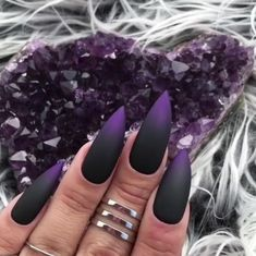 The trend of matte nail art designs have been rising in recent years. You can use matte nail art designs to enhance your temperament and taste and make you look beautiful and gorgeous. Ombre nail art designs make women look very attractive. They lo Matte Nail Art, Stiletto Nail Art, Black Nail Art, Nail Nail, Stiletto Nail Designs, Purple Stiletto Nails, Black Ombre Nails, Pink Nails, Ombre Nail Art