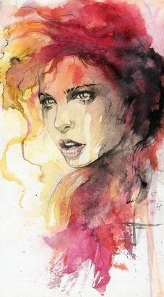 Water Color. NP, why did you do that? She looks surprised, and I liked the pin to pin it.                                                                                                                                                      Más #watercolorarts