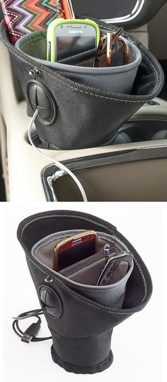 Driver cup // plenty of pockets for keeping driver roadside essentials nearby, a useful organizer for the cup holder! Clever! #product_design