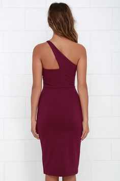 One-Way Ticket Burgundy One Shoulder Midi Dress at Lulus.com!