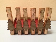 Bamboo Clothes Pins / Rustic Christmas Tree Ornament / Card Holders - SOLD
