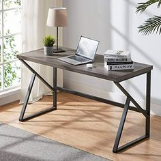 HSH Rustic Computer Desk, Metal and Wood Home Office Desk, Industrial Vintage Soho Study Writing Table, Gray 47 inch Rustic Computer Desk, Home Office Computer Desk, Office Table, Wood Desk, Computer Desks, Office Workspace, Rustic Office Desk, Wood And Metal Desk, Computer Desk Design