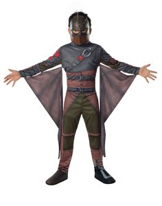 Become the witty but awkward Hiccup with our How to Train Your Dragon Hiccup Costume, complete with latex character mask, jumpsuit that has attached wings and boot tops! Be ready to ride Toothless in