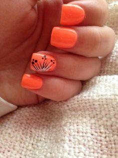Nail art laranja com filha única | Unhas decoradas 2016
