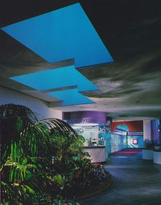 "From ""Commercial Interiors International"" - Posh movie theater. 80s Interior Design, Mid-century Interior, 80s Design, Exterior Design, Interior Architecture, Interior And Exterior, 1980s Interior, Design Ideas, Bar Restaurant"