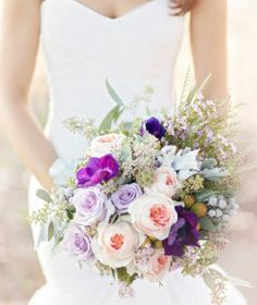 The soft and romantic Hushed Violet Sweet Southern DIY Wedding Bouquet will sweep you off your feet!