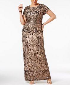 Betsy & Adam Plus Size Sequined Gown | macys.com